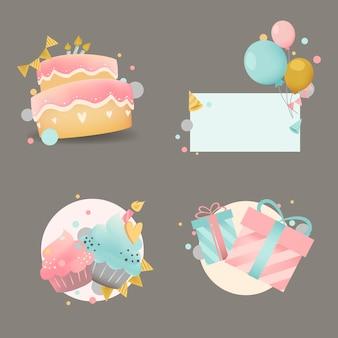 Zbiór Kolorowy Urodziny Znaczek Wektorów Darmowych Wektorów