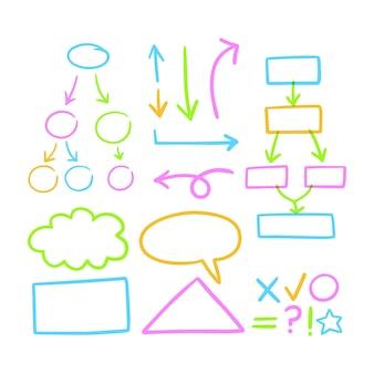 Zbiór kolorowych elementów plansza szkoły