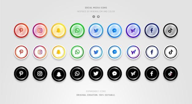 Zbiór kolorowych ikon mediów społecznościowych w nowoczesnym stylu.