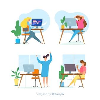 Zbiór kolorowych ilustrowanych programistów pracujących