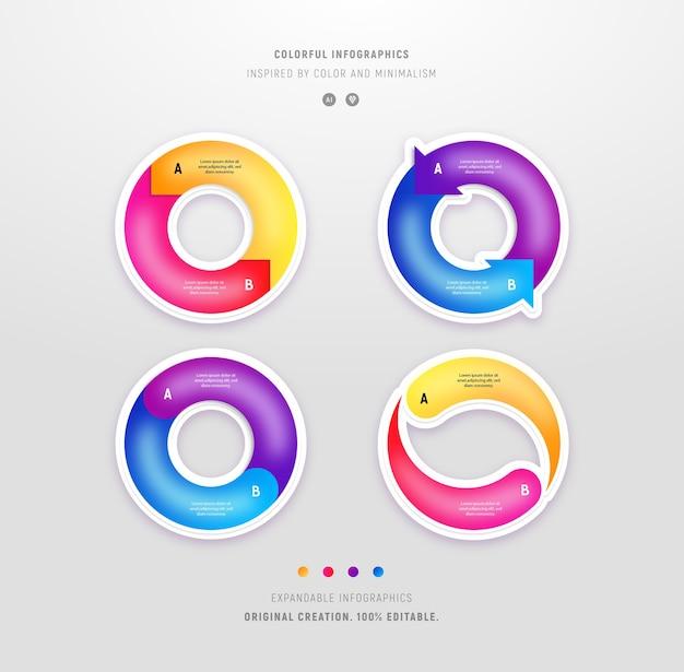 Zbiór kolorowych infografiki okrągłe nowoczesne