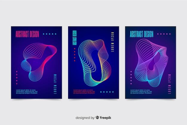 Zbiór kolorowych plakatów streszczenie fale muzyki szablonu
