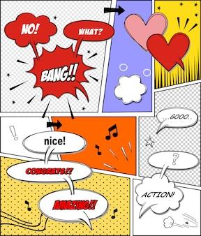 Zbiór komiksowych dymków. komiks dymki doodle zestaw