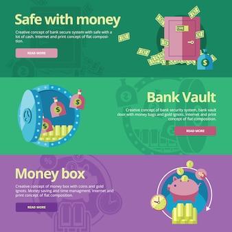 Zbiór koncepcji dla sejfu i pieniędzy, skarbiec, skarbonka. koncepcje dotyczące stron internetowych i materiałów drukowanych