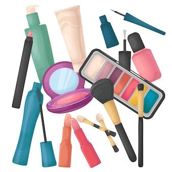 Zbiór kosmetyków rozrzuconych, na białym tle