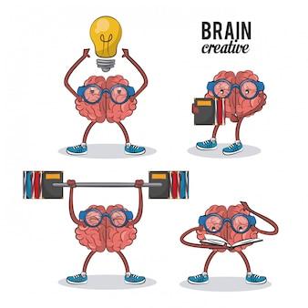 Zbiór kreatywnych kreskówek mózgu