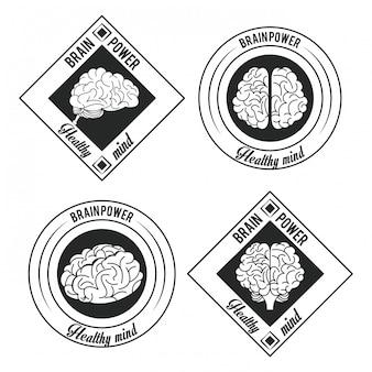 Zbiór kreatywnych mózgi okrągłe etykiety herby