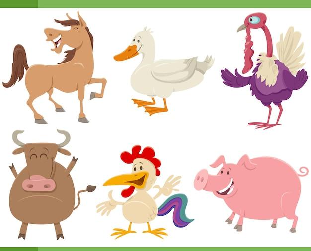 Zbiór kreskówek zabawnych postaci zwierząt gospodarskich