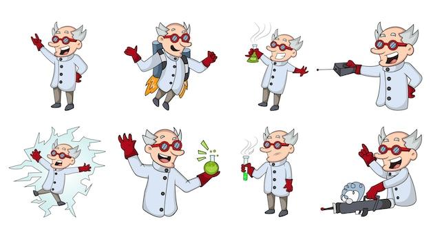 Zbiór kreskówka naukowiec na białym tle