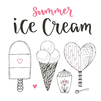 Zbiór kreskówka wektor zestaw lodów. szyszki i słodkie lody w stylu bazgroły. wektor zestaw z napisem