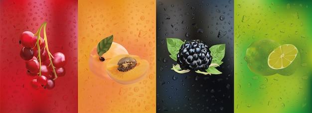 Zbiór kropli soku z owocami