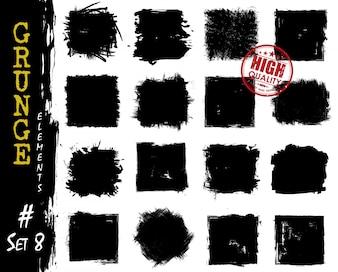 Zbiór kwadratów kształtów stylu grunge