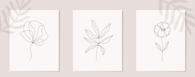 Zbiór kwiatów ciągłej grafiki liniowej