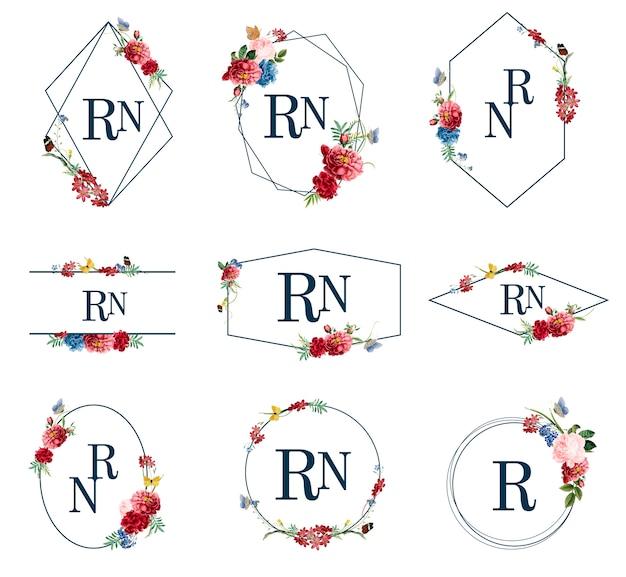Zbiór kwiatów ramki ilustracje