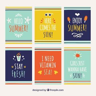 Zbiór letnich kart z wiadomością