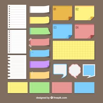 Zbiór liści i kolorowych notatek