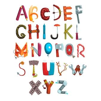 Zbiór listów z różnych przedmiotów, jedzenia i narzędzi. kreatywna szczegółowa czcionka. rozwój i edukacja dzieci. płaska konstrukcja na książkę, plakat lub kartę