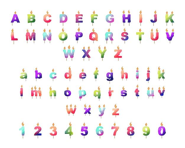 Zbiór liter i cyfr w formie świec