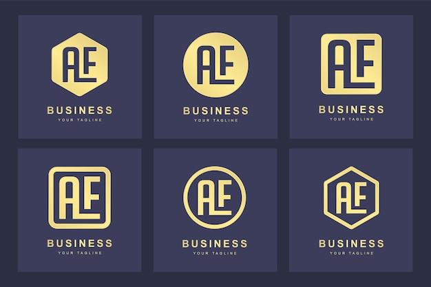 Zbiór liter inicjałów logo ae ae gold w kilku wersjach