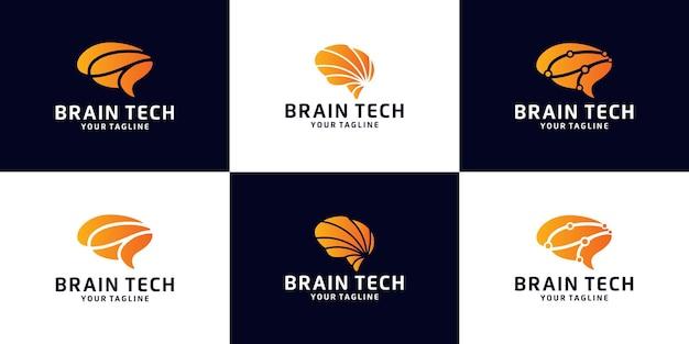 Zbiór logo mózgu technologii danych