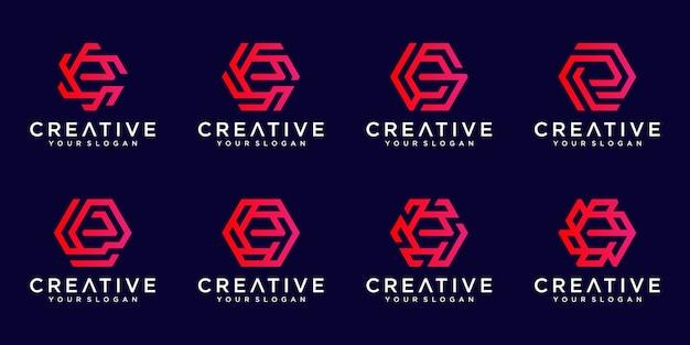 Zbiór logo streszczenie litery e