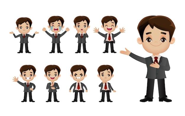 Zbiór ludzi biznesu z różnymi emocjami