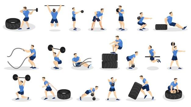 Zbiór ludzi ćwiczeń. ćwiczenia fitness i kulturystyka