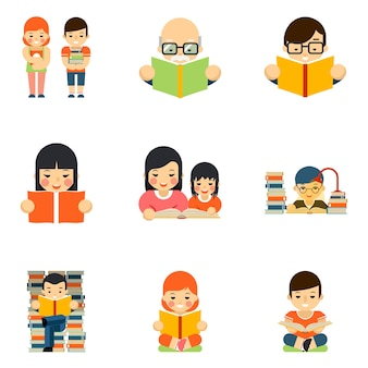 Zbiór ludzi czytających książkę w stylu płaski