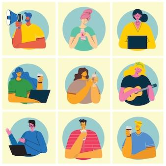 Zbiór ludzi, mężczyzn i kobiet czyta książki, pracuje na laptopie, wyszukuje za pomocą lupy, komunikuje się. obiekty graficzne do kolaży i ilustracji.