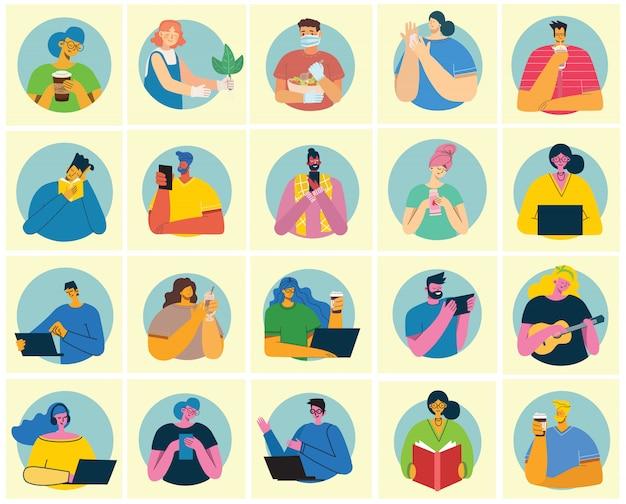 Zbiór ludzi, mężczyzn i kobiet czyta książki, pracuje na laptopie, wyszukuje za pomocą lupy, komunikuje się