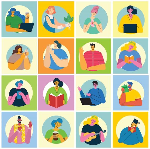 Zbiór ludzi, mężczyzn i kobiet czytają książki, pracują na laptopie, wyszukują za pomocą lupy, komunikują się w nowoczesnym, kolorowym stylu płaski.