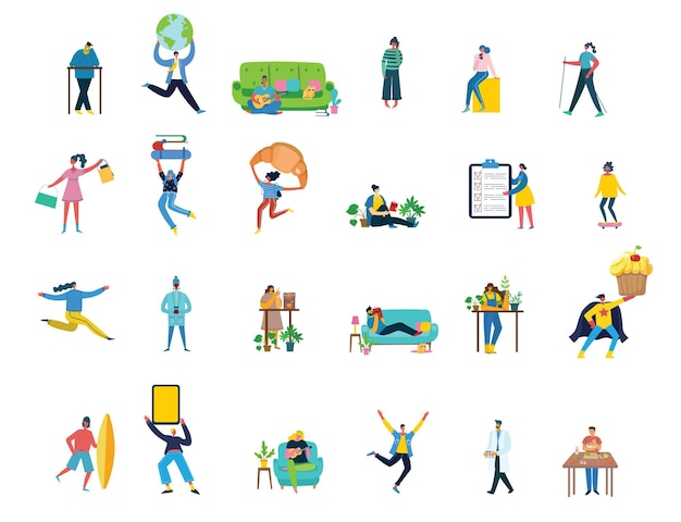 Zbiór ludzi, mężczyzn i kobiet z różnymi znakami - książka, praca na laptopie, wyszukiwanie za pomocą lupy, komunikowanie się.