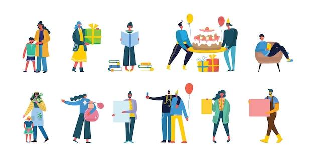 Zbiór ludzi, mężczyzn i kobiet z różnymi znakami - książka, praca na laptopie, wyszukiwanie za pomocą lupy, komunikowanie się
