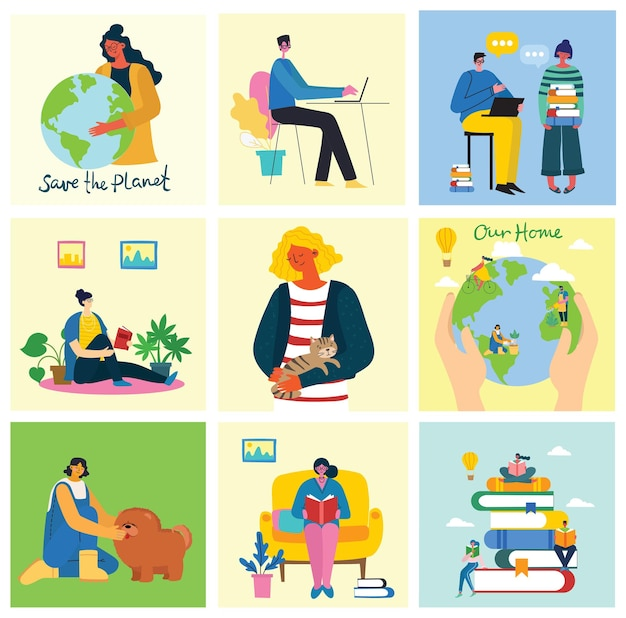 Zbiór ludzi, mężczyzn i kobiet z różnymi znakami. nowoczesne kolorowe mieszkanie.