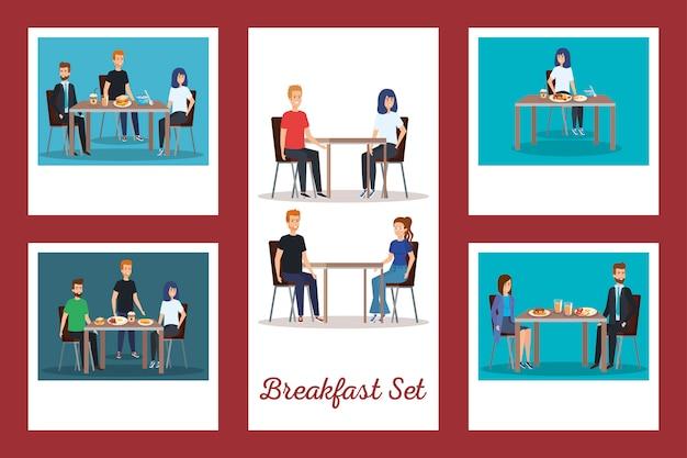 Zbiór ludzi na śniadanie