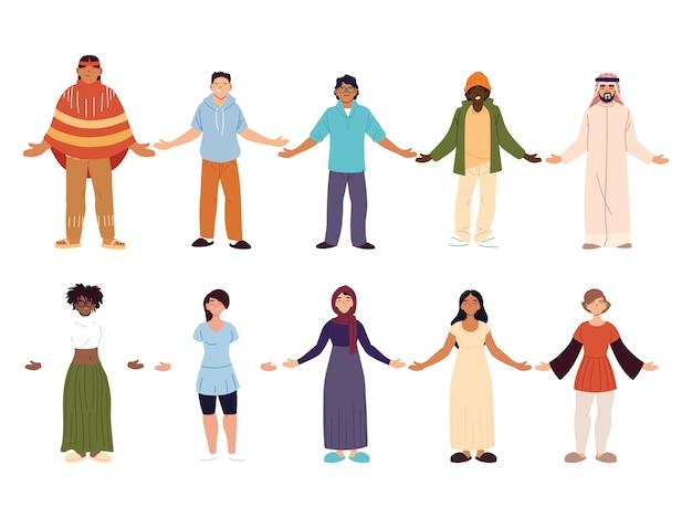 Zbiór ludzi razem, różnorodność lub wielokulturowość.