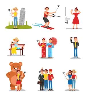 Zbiór ludzi robienia selfie. młodzi mężczyźni i kobiety ze smartfonami i monopodami. kolorowy, płaski kształt