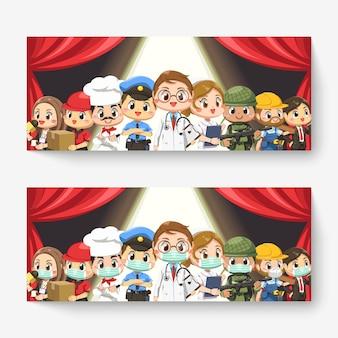 Zbiór ludzi różnych zawodów w postać z kreskówki, na białym tle płaska ilustracja