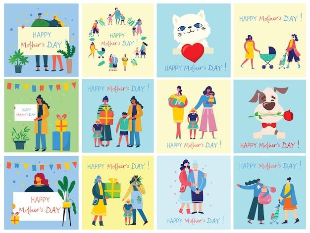 Zbiór ludzi świętuje dzień matki
