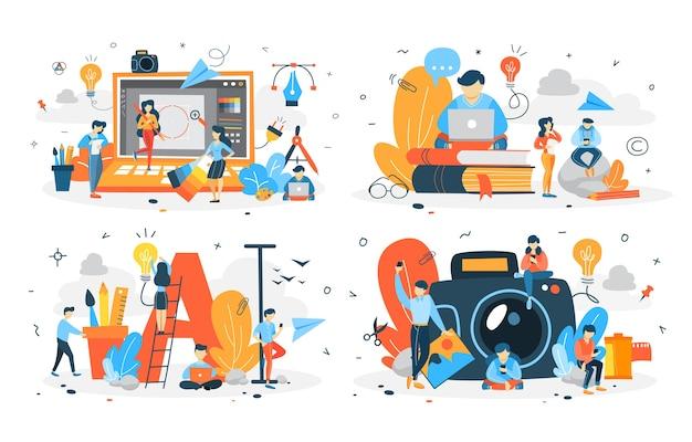 Zbiór ludzi tworzących różne rodzaje treści cyfrowych. kreatywny bloger. fotografia i tekst, wideo i ilustracja. płaskie ilustracji wektorowych