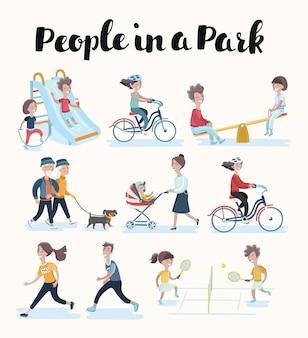 Zbiór ludzi wykonujących różne czynności w parku