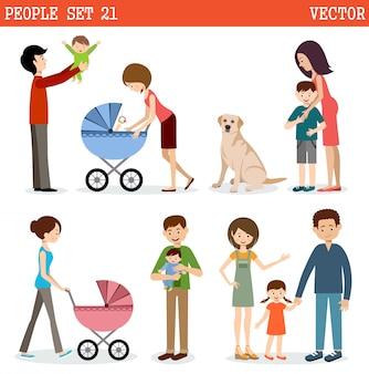 Zbiór ludzi z dziećmi i psem