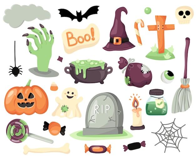 Zbiór magicznych elementów halloween.