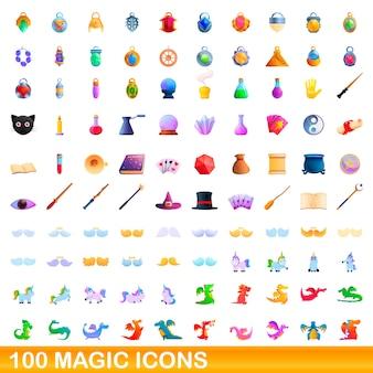 Zbiór magicznych ikon na białym tle