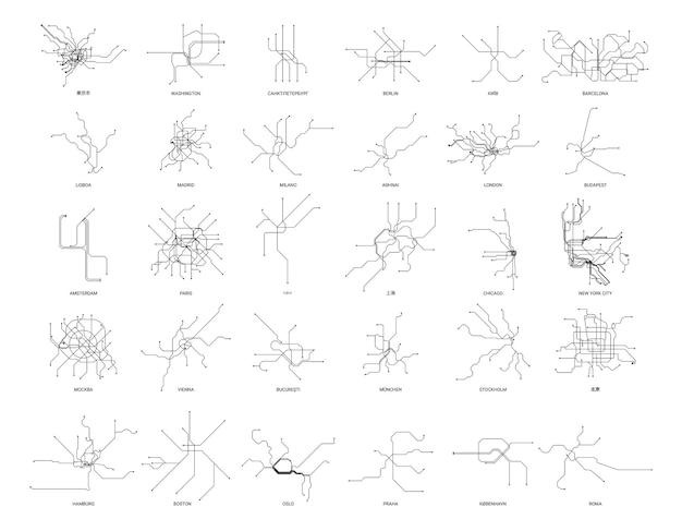 Zbiór map metra różnych krajów w stylu liniowym.