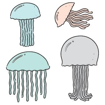 Zbiór meduzy na białym tle