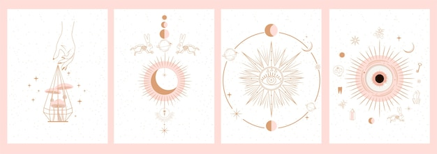 Zbiór mistycznych i tajemniczych ilustracji w stylu wyciągnąć rękę. czaszki, zwierzęta, przestrzeń