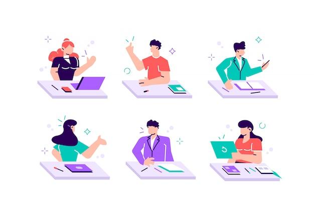 Zbiór młodych chłopców i dziewcząt siedzących przy biurkach, czytających książki, piszących test szkolny, śpących. zestaw dzieci lub studentów przygotowujących się do egzaminów. kolorowa ilustracja w płaskim kreskówka stylu