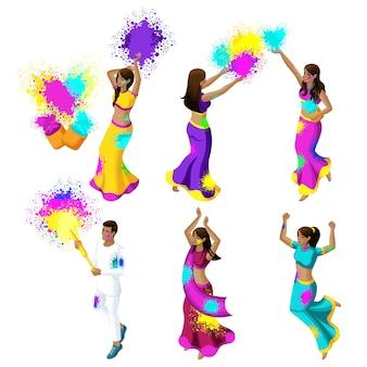 Zbiór młodych ludzi z indii obchodzących festiwal kolorów, kolorowy proszek, dziewczyny, chłopaki, skakać, kwitnąć, szczęście
