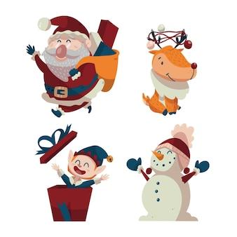 Zbiór narysowanych postaci świątecznych